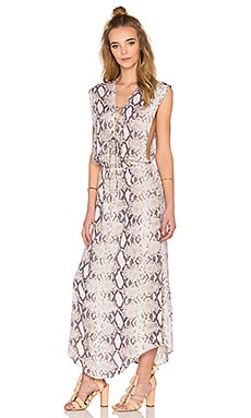 Pamela Lace Up Maxi Dress in Natural Python