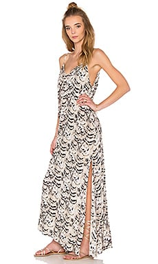 Rain Maxi Dress in Natural Feathers