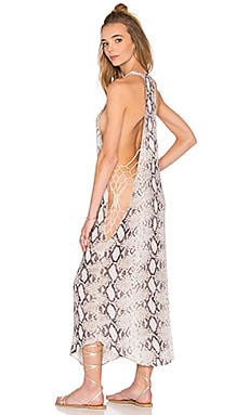 Tamri Open Sides Maxi Tank Dress in Natural Python