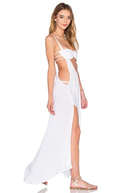 Indah Gus Suspender Maxi Dress in White