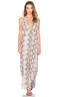 Indah Titanium Deep V Maxi Dress in Natural Python
