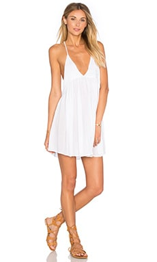 Indah Saffron Solid Mini Dress in White