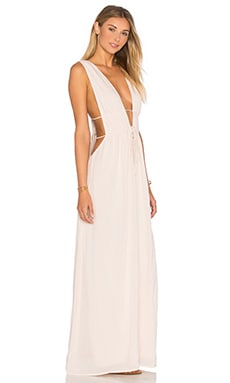 Titanium Deep V Cutout Maxi Dress in Sand