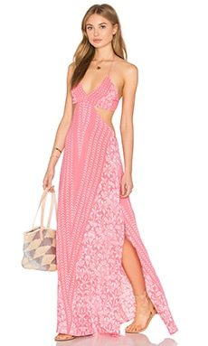 Indah Blaze Printed Cutout Maxi Dress in Rose Malala