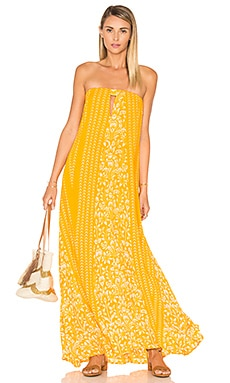 Indah Sail Printed Strapless Maxi Dress in Marigold Malala