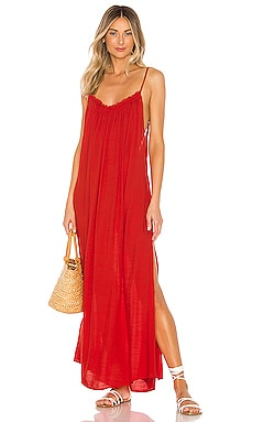 Yasmine Solid Gathered Neckline Maxi Sundress Indah $158
