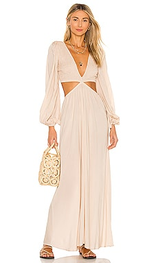 Julie Solid Ruched Bodice Cutaway Maxi Dress Indah $198 BEST SELLER