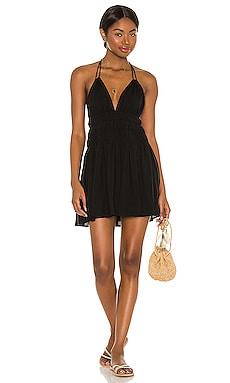 Chloe Solid Ruched Bodice Dress Indah $154