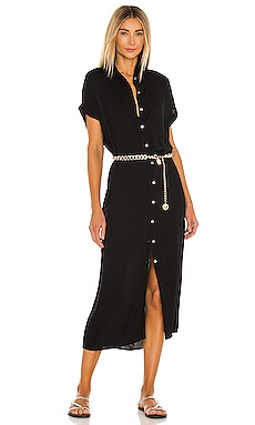 Delphina Solid Button Up Mid Length Shirt Dress Indah $176