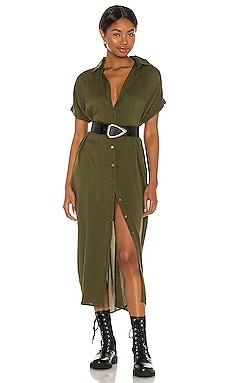 Delphina Solid Button Up Mid Length Shirt Dress Indah $124