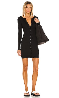 Lenny Solid Henley Button Front Mini Dress Indah $97