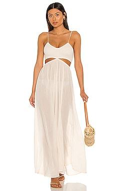 Innocence Solid Smocked Maxi Dress Indah $158 NEW