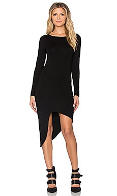 Salju Long Sleeve Sexy Dress en Noir
