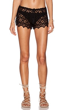 Indah Siku Brocade Drawstring Short in Black