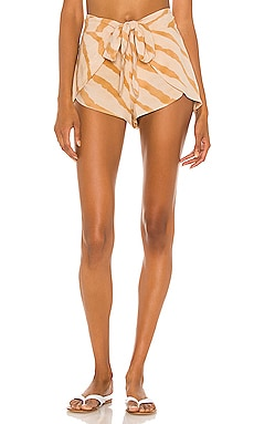 Palm Printed Tie Front Wrap Short Indah $106