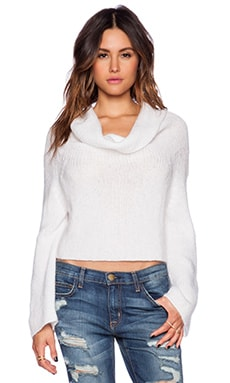 Indah Ease Cowl Crop Sweater in White
