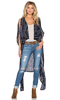 Indah Nomad Printed Hi Lo Duster in Venice Black