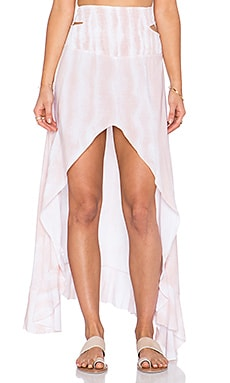 Indah Kodiak Printed Hi Lo Ruffle Maxi Skirt in Blush Snake