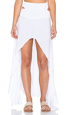 Indah Kodiak Hi Lo Ruffle Maxi Skirt in White