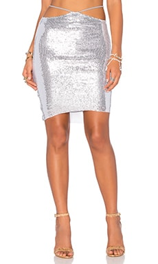 Indah Bridgette Sequined Mini Skirt in Silver