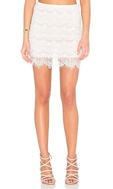 Indah Cheryl Lace Mini Skirt in Ivory