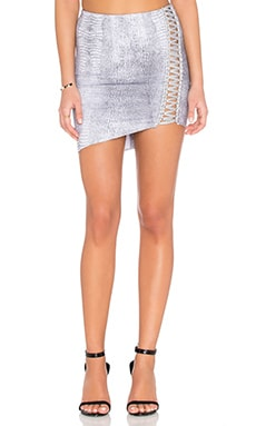Indah Lane Asymmetrical Lace Up Skirt in Black Crocodile