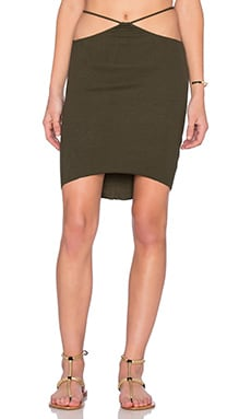 Indah Bridgette Cutout Mini Skirt in Pine Green