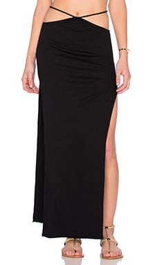 Indah Gigi High Slit Maxi Skirt in Black