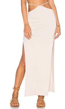 Gigi High Slit Maxi Skirt in Sand