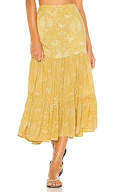 Bolare Printed Modern Cowgirl Tiered Midi Skirt Indah $154