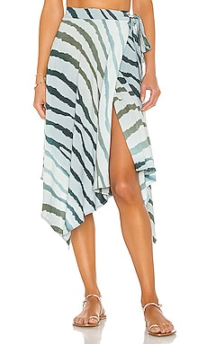 Selena Printed Teardrop Wrap Skirt Indah $145 NEW