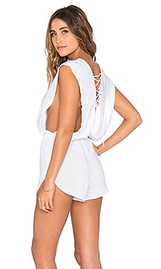 Nila Lace Up Romper in White