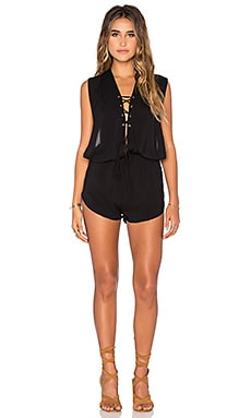 Nila Lace Up Romper en Noir