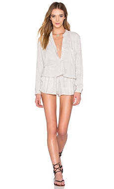 Plateau Long Sleeve Romper in Silver Tiger