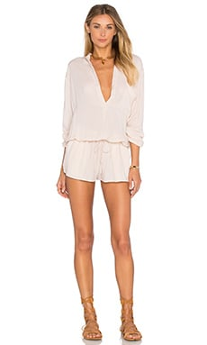 Plateau Long Sleeve Romper in Sand