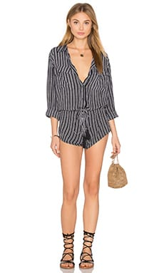 Ironwood Printed Romper in Black Nobel