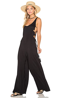 Wanderer Lace Up Side Jumpsuit in Black