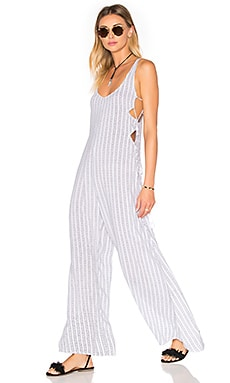 Wanderer Printed Lace Up Side Jumpsuit in White Nobel