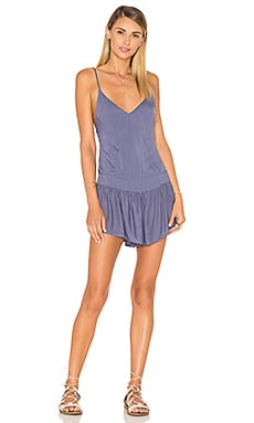 Breeze Patchwork Romper in Denim Blue