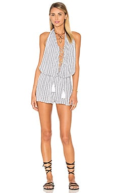Indah Swoon Printed Lace Up Romper in White Nobel