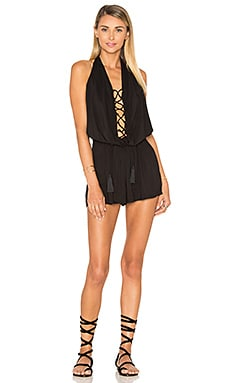 Indah Swoon Lace Up Romper in Black