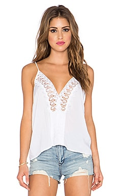 Indah Tupelo Paris Lace & Pleat Cami in White