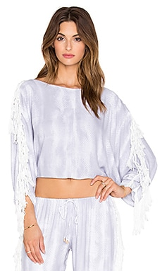 Indah Powder Fringe Dolman Blouse in Grey Snake