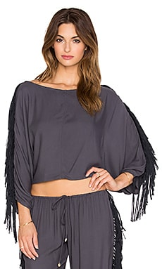 Indah Powder Fringe Dolman Blouse in Slate