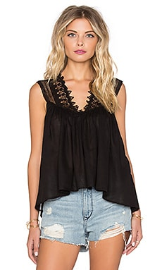 Palm Lace Detail Cami in Black
