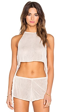 Indah Hume Mesh & Fringe Cami in Peach