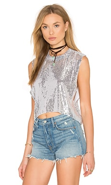 Jess Sequined Crop Top en Argent
