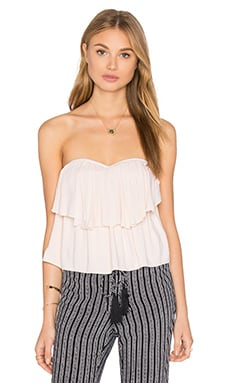 Paloma Strapless Flounce Top in Sand