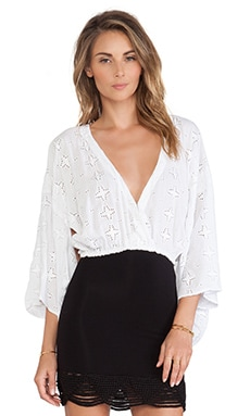 Indah Still Crop Kimono Top in Embroidered Star White