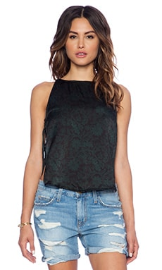 Indah Lust Silk String Side Tank in Batik Green